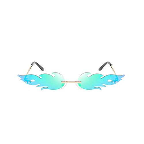 NUOBESTY Occhiali a Forma di Fuoco Occhiali a Forma di Fiamma Occhiali da Vista Occhiali in Metallo Bomboniere Oggetti di Scena Cosplay Vestire Costume Verde