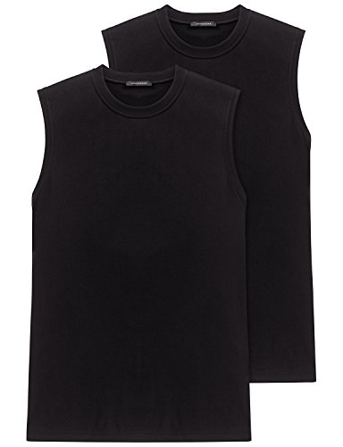 Schiesser Herren Shirt 0/0 Arm (Doppelpack) Unterhemd, Schwarz (000-schwarz), 6 (L)