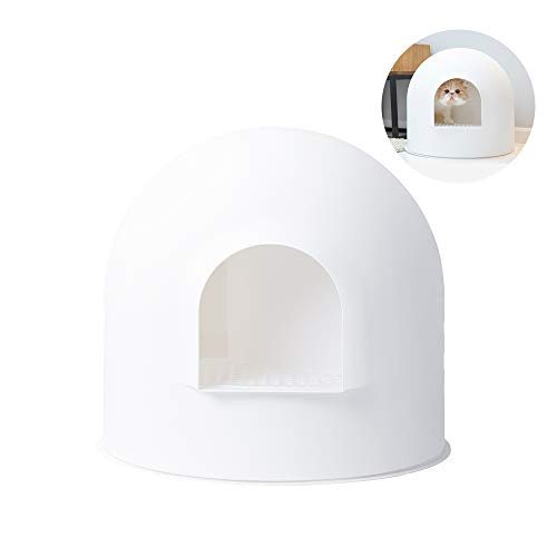 pidan Cat Litter Box with Lid Large with Scooper Cat Litter Pan Snow House Igloo Solide and Durable Easy to Clean with Non-Stick Coating - Stylish, High-Sided Design (White)