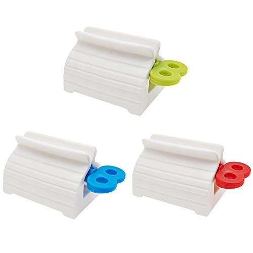 LONHCHI 3 Pezzi Dispenser Dentifricio,Spremi dentifricio Manuale,Creative Manual Cream Tube Squeezi per Bagno(Rosso, Blu, Verde)