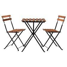 Tisch+2 Stühle Outdoor TÄRNÖ schwarz/grau-braun gebeizt