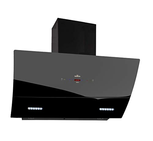 KATTICH MERC 90 cm Curved Glass Design 1350 Suction Auto-clean Chimney Powered by Electronic Motorized Hydraulic Vent Opening & Gesture Control