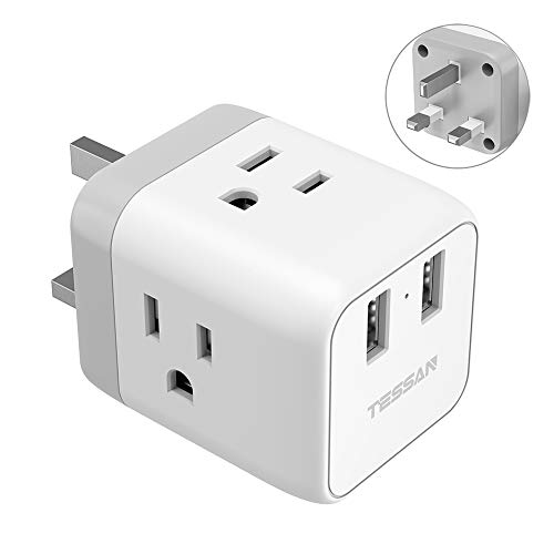 UK Ireland Hong Kong Travel Adapter Plug, TESSAN UK Power Adapter with 3 American Outlets and 2 USB Charging Ports, USA to UK British England Scotland Irish Outlet Adaptor-Safe Grounded Type G