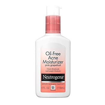 Neutrogena Oil Free Acne Facial Moisturizer with.5% Salicylic Acid Acne Treatment Pink Grapefruit Acne Fighting Face Lotion for Breakouts Non-Greasy & Non-Comedogenic 4 fl oz