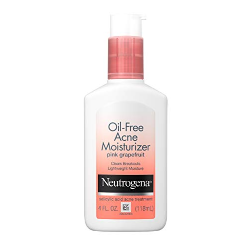 Neutrogena Oil Free Acne Facial Moisturizer with.5% Salicylic Acid Acne Treatment, Pink Grapefruit Acne Fighting Face Lotion for Breakouts, Non-Greasy & Non-Comedogenic, 4 fl. oz