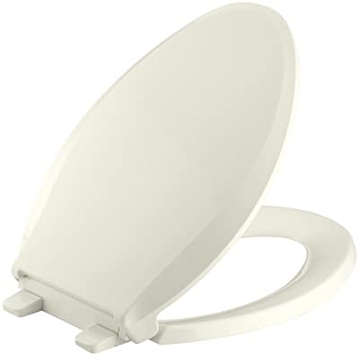 Kohler K-4636-96 Cachet Elongated Biscuit Toilet Seat, With Grip-Tight Bumpers, Quiet-Close, Quick-Release Hinges, Quick-Attach Hardware, No Slam Toilet Seat