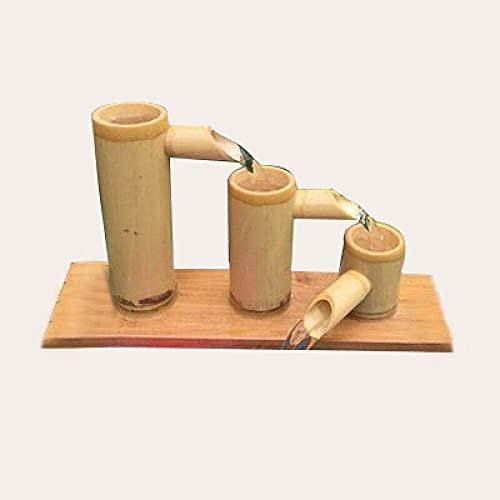 Garten Wasserspiel,Fließendes Wasser Dekoration Bambus Aquarium Fließendes Wasser Filter Steinnut Bambusrohr Fließendes Wasser Frühling Handwerk Kreative Heimtextilien