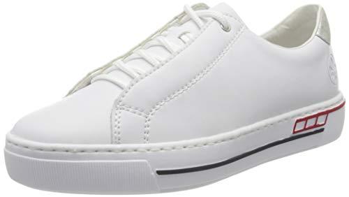 Rieker Damen Frühjahr/Sommer L8834 Slip On Sneaker, Weiß (Weiss/Fog-Silver/ 80 80), 39 EU
