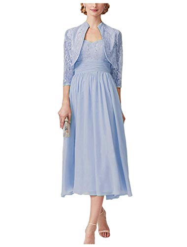 Meganbridal Tea Length Lace & Chiffon Mother of The Bride Dresses with 3/4 Sleeve Jacket 2 Pieces Blue