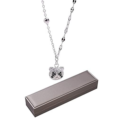 1 cadena colgante para niñas S925 plata esterlina Zircon Panda forma colgante collar
