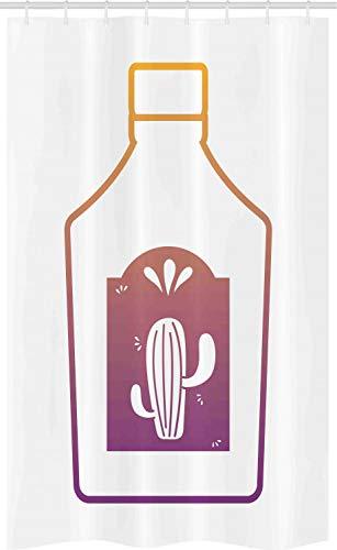 ABAKUHAUS Tequila Douchegordijn, Ombre Outline Bottle Cactus, voor Douchecabine Stoffen Badkamer Decoratie Set met Ophangringen, 120 x 180 cm, Veelkleurig