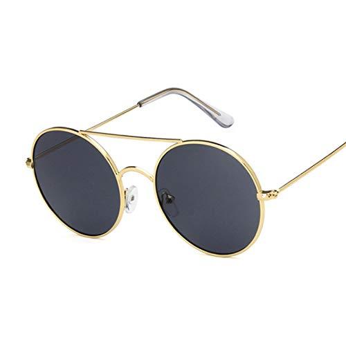 NJJX Gafas De Sol Redondas De Moda Para Mujer, Gafas De Sol De Círculo Vintage Para Mujer, Espejo De Océano Transparente, Metal Dorado, Gris