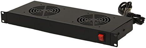 NavePoint Rack Cabinet Mounted Server 2 Fan Unit Cooling System with 2 Fans 110V Blk 1U