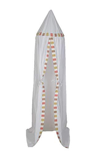 Pampido Bedhemel voor kinder/babybed van katoen, hangend muggennet voor slaapkamer kinderkamer, spel en lezen tijd, baby insectenbescherming, grijs, wit, roze, meisjes, blauw, hoogte 240 cm