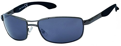 Chic-Net Gafas de Sol Hombres Aviador Gris de Encaje 400UV teñido Correa Ondulada de Color Gris Oscuro