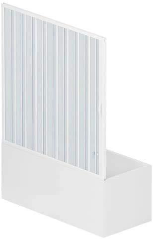 Mampara con fuelle de 170 cm x 150 cm de altura, de PVC en un lado con puerta única de apertura lateral, color blanco, decoración de baño