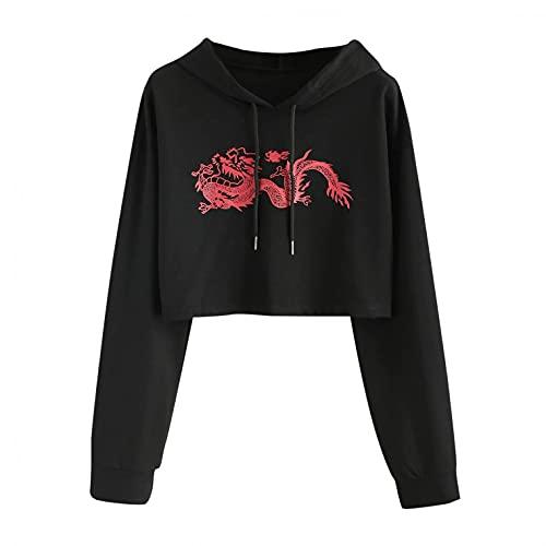 Hevoiok Damen Bauchfrei Kapuzenpulli Hoodie Katze Kitty Langarm Pullover Sweatshirt Crop Top Bluse Streetwear (Schwarz,XXL)