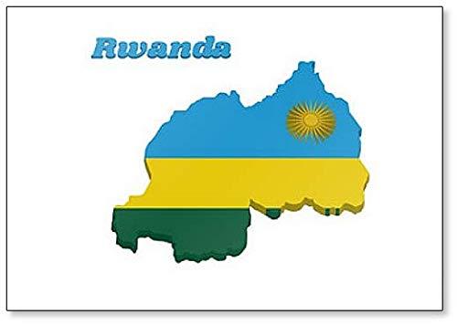 Kühlschrankmagnet, Motiv Landkarte & Flagge von Ruanda