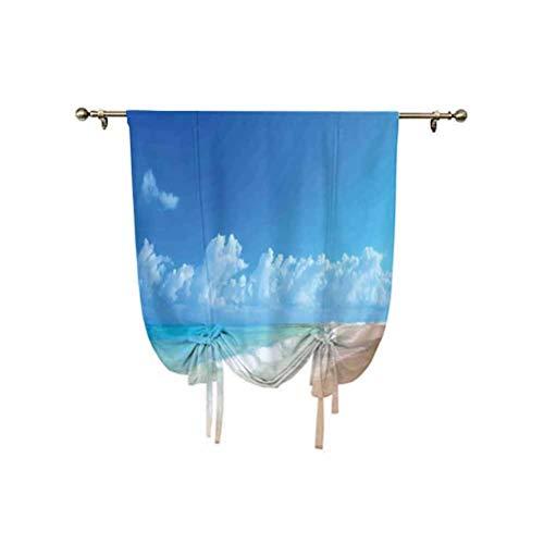 Cortinas hawaianas decoraciones, cortinas con aislamiento térmico para barra, 24 x 47 pulgadas, para ventanas del hogar, azul turquesa