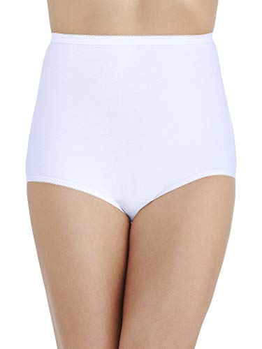 Vanity Fair Women's Underwear Perfectly Yours Traditional Cotton Brief Panties, Star White, 12