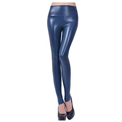 XBECO A Vita Alta Ecopelle Leather Leggings Faux delle Donne Nero Sexy Le Ghette Lucide dei Pantaloni Elastici più I Pantaloni Dimensione Buona Elasticità (Color : Navy Blue, Size : XL.)