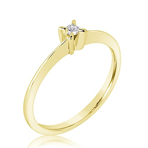 MILLE AMORI ∞ - Anillo de compromiso para mujer de oro y diamantes ∞ de 9 quilates 375 diamante 0,04 quilates ∞ (57)
