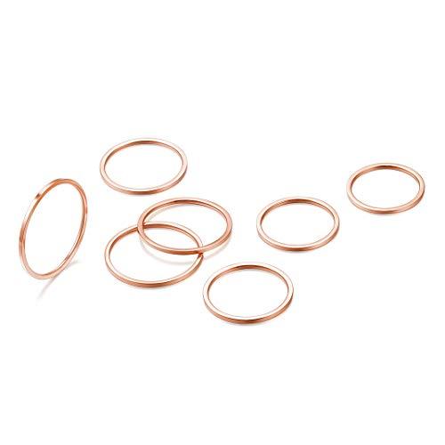 Gioielli GoldChic 7 Pezzi 1mm Anelli Midi per Donna Knuckle Midi, Set di Anelli semplici impilabili, Misura Comfort 4-10, Tono Oro Rosa