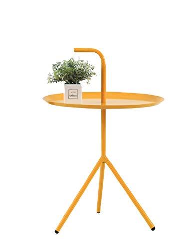 LWKBE Round Beistelltisch Kleines Tray Metall Beistelltisch, Sofatisch Nachttisch mit Griff für Schlafzimmer, Wohnzimmer und kleine Räume, leicht und einfach zu bewegen,Gelb