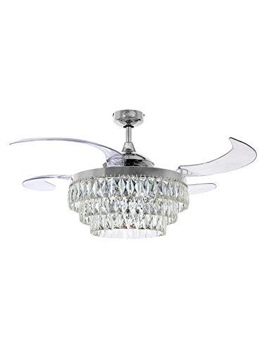 Fanaway Veil Ventilatore da soffitto con ali estensibili e luce LED da soffitto (6 x E14), cromato con luce