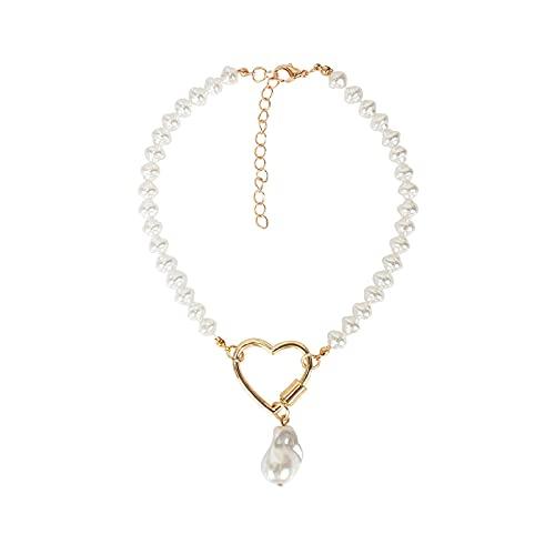 Collares de mujer con hebilla de corazón y colgante de perlas
