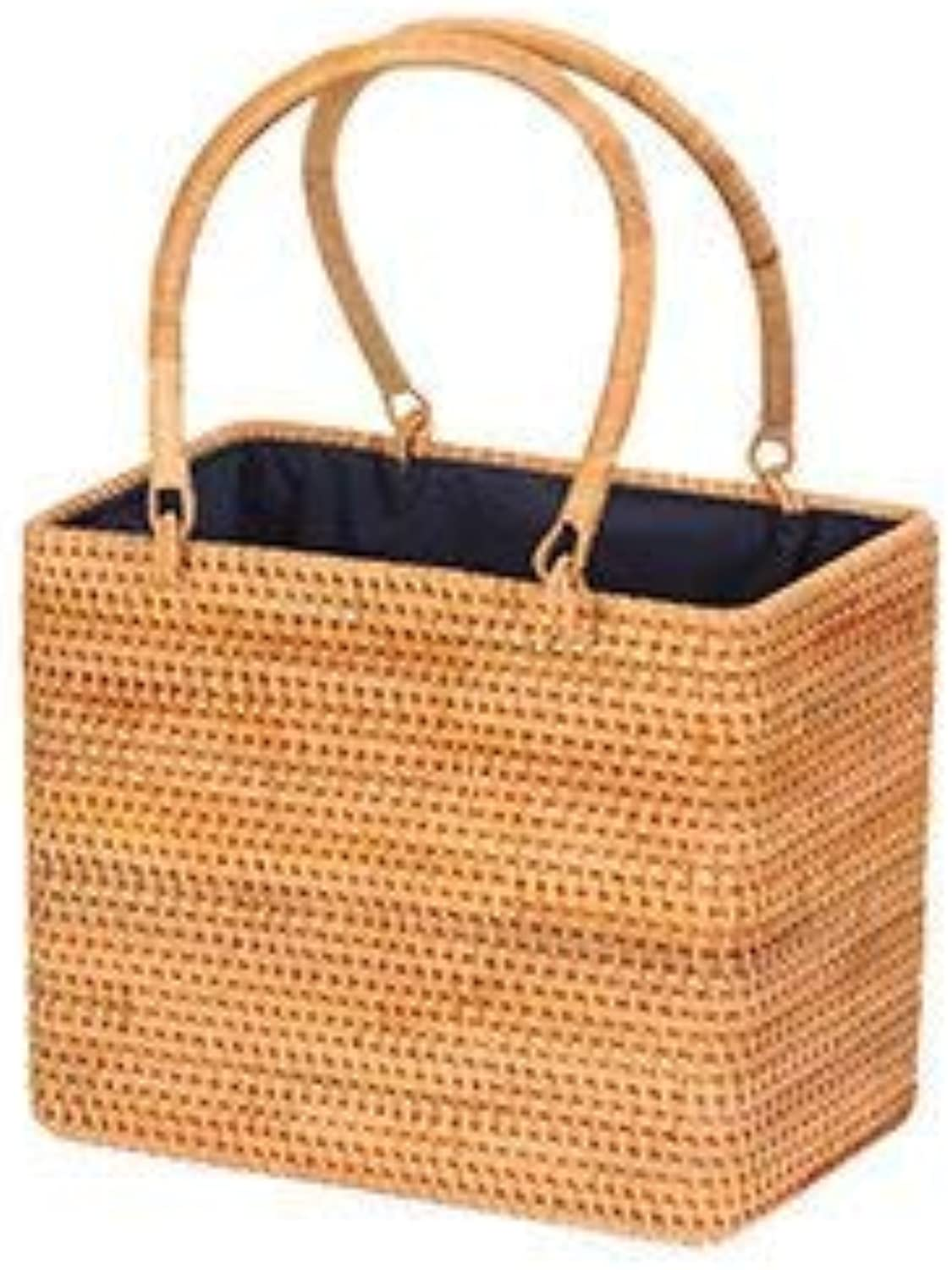 Bloomerang Summer Bali Handmade Straw Bag Hollow Top-Handle Women Handbag Bohemian Rattan Beach Bag Vintage Woven Women Tote Bolsa New color Khaki-Big