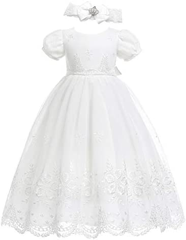 Glamulice Baby Girls Newborn Satin Christening Baptism Floral Embroidered Dress Gown Outfit product image