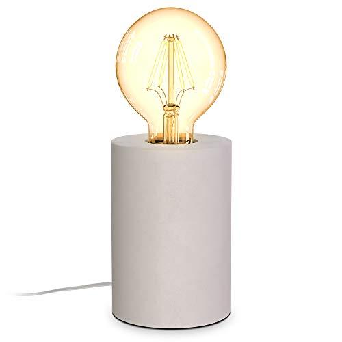 B.K.Licht I lámpara de mesa de hormigón redonda I 9 x13 cm I enchufe E27 I interruptor de cable I gris I sin bombilla