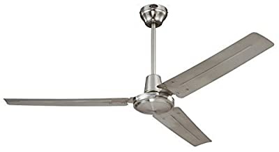Ciata Lighting Industrial 56-Inch Three-Blade Ceiling Fan with Ball Hanger Installation System, Brushed Nickel - 2 Pack