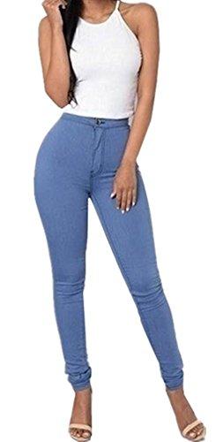 LooBoo Cintura Alta Pantalones Jeans Mujer Elástico Flacos Vaqueros Leggings Push up Mezclilla Pantalones