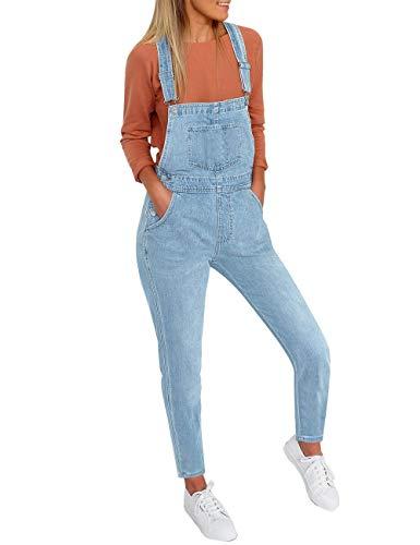 Vetinee Women's Light Blue Classic Adjustable Straps Pockets Denim Bib Overalls Jeans Pants Small