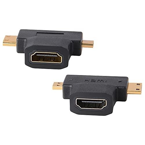 J&D 2 in 1 HDMI a Mini/Micro HDMI Adaptador, Pack de 2 Mini y Micro HDMI Macho a HDMI Hembra Adaptador Universal en T con Conectores Chapados en Oro