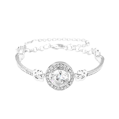 Pulseras para mujeres y mujeres redondas con incrustaciones de circonita cúbica ajustable pulsera brazalete de fiesta joyería regalo