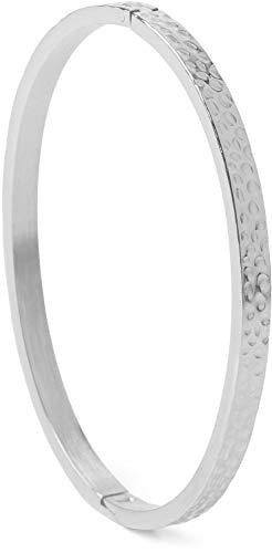 styleBREAKER Damen Edelstahl Armreif mit gehämmerter Oberfläche, Clipverschluss Armband, Schmuck 05040170, Farbe:Silber
