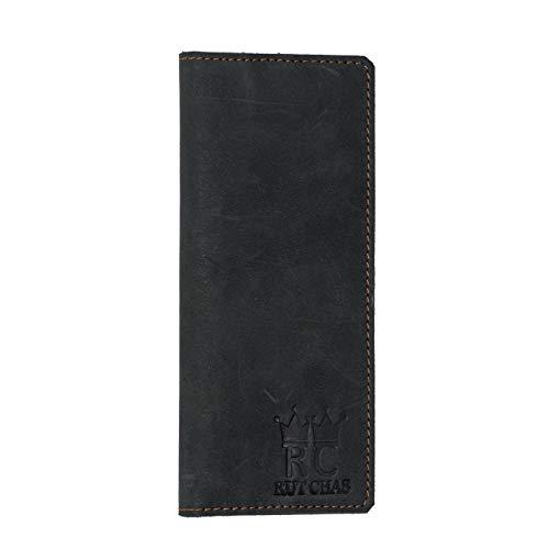 RUT CHAS Bifold RFID-Blockierung, lang, schmal, verblasst, schwarz, handgefertigt, Kartenhalter, Organizer für Damen und Herren