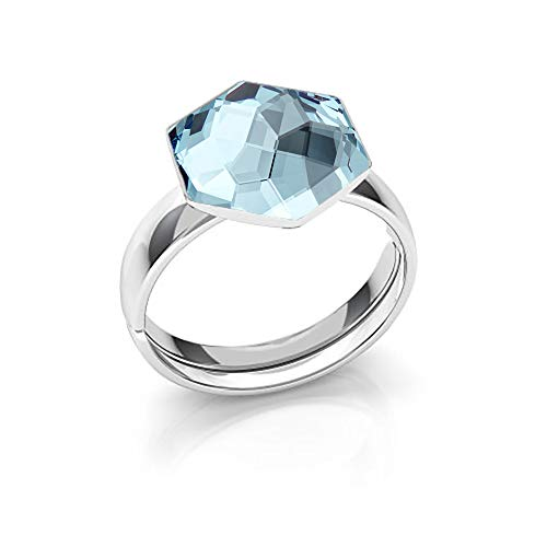 Beforya Paris - *Hexagon* - 925 Silber Ring - Viele Farben - Verlobungsring mit Swarovski® - 925 Sterling Silber Damen Ring Größe Verstellbar PIN/75 (Aquamarine)