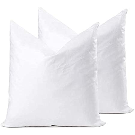 Amazon Com Ysther Down Feather Throw Pillow Inserts 20x20 Set Of 2 Square Form Sham Stuffer Premium Hypoallergenic Cotton Lumbar White Decorative Sofa Cushion Couch Kitchen Dining