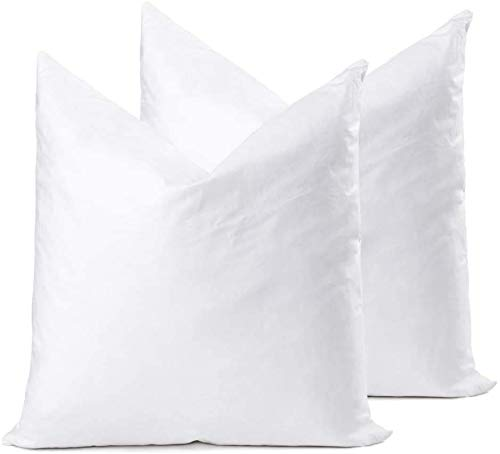 YSTHER Down Feather Throw Pillow Inserts 16x16 Set of 2 Square Form Sham Stuffer Premium Hypoallergenic Cotton Lumbar White Decorative Sofa Cushion Couch