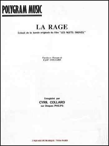 LA RAGE (Les nuits fauves) (partition)