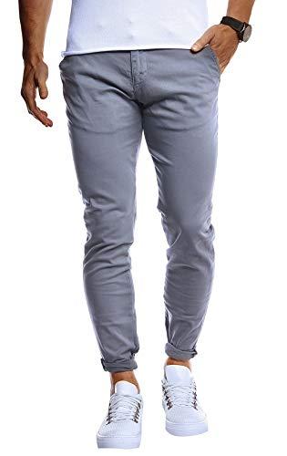 Leif Nelson Herren Chino Hose Stretch Chinohose Slim Fit Schwarze Basic Hose für Männer Sommer Freizeithose LN1002 Anthrazit W32L32