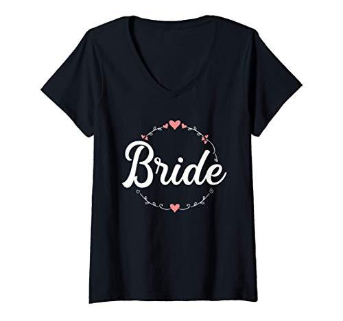Mujer Despedida de soltera floral de la novia Camiseta Cuello V