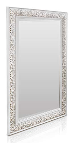 Shabby Chic Wandspiegel - 90 x 60 cm - Großer französischer Spiegel im Vintage Stil - Antik Weiß und Silber