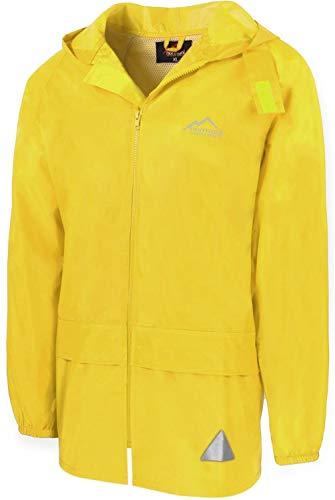 Outdoor Regenjacke Laufjacke Fahrradjacke mit Kapuze und 3M Scotchlite Reflektoren beidseitig für maximale Sicherheit Farbe Yellow Größe 8/XL