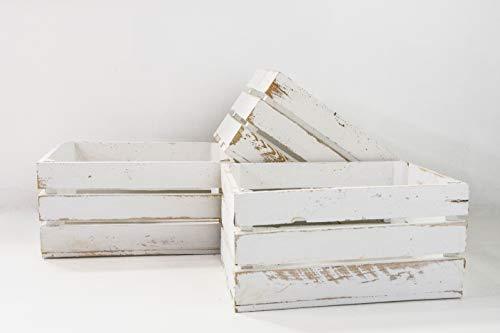 Set de 3 Cajas de Fruta Sam, Madera, Blanco Vintage, 49x31x24cm, 3 Unidades. Incluye Imán Personalizable de Regalo.