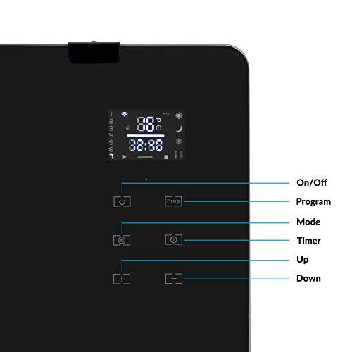 electriQ 2000W Black Designer Glass Heater Wall Mountable Low Energy with Smart WiFi Alexa - Ultra Slim only 8cm Bathroom Safe IP24